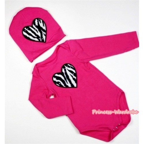 Hot Pink Long Sleeve Baby Jumpsuit with Zebra Heart Print with Cap Set LS99