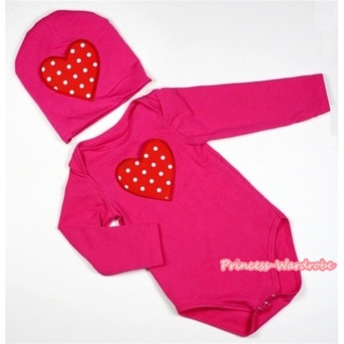 Hot Pink Long Sleeve Baby Jumpsuit with Red White Polka Dots Heart Print with Cap Set LS100