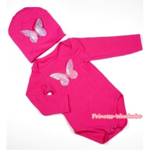 Hot Pink Long Sleeve Baby Jumpsuit with Rainbow Butterfly Print with Cap Set LS101