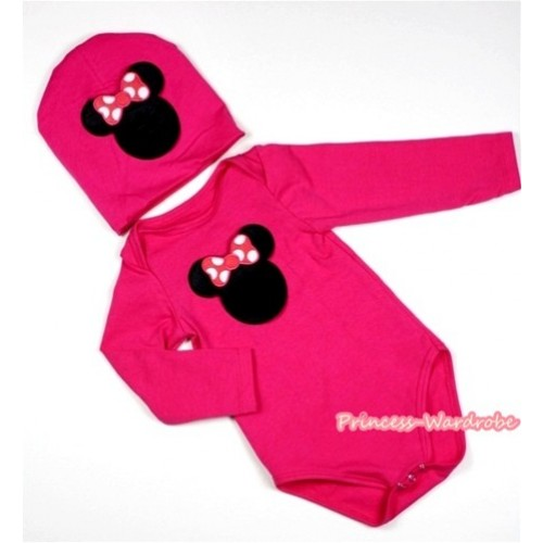 Hot Pink Long Sleeve Baby Jumpsuit with Hot Pink Minnie Print with Cap Set LS102