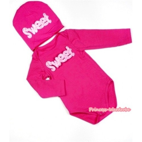 Hot Pink Long Sleeve Baby Jumpsuit with Sweet Print with Cap Set LS105