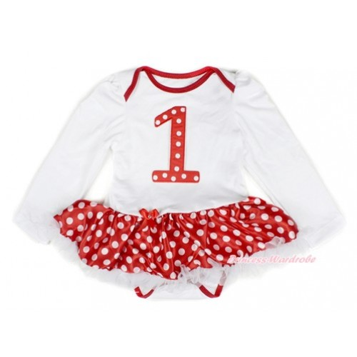 White Long Sleeve Baby Bodysuit Jumpsuit Minnie Dots White Pettiskirt With 1st Red White Dots Birthday Number Print JS2303