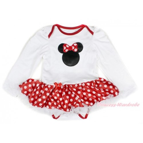 White Long Sleeve Baby Bodysuit Jumpsuit Minnie Dots White Pettiskirt With Minnie Print JS2304