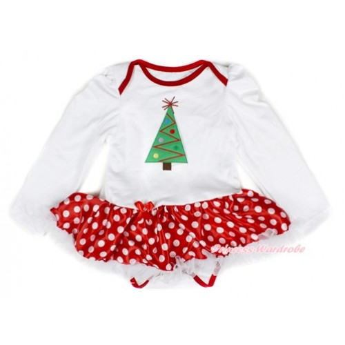 Xmas White Long Sleeve Baby Bodysuit Jumpsuit Minnie Dots White Pettiskirt With Christmas Tree Print JS2307