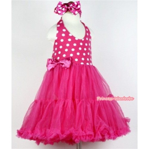 Hot Pink White Polka Dots with ONE-PIECE Petti Dress & Hot Pink Headband with Hot Pink White Polka Dots Bow LP12
