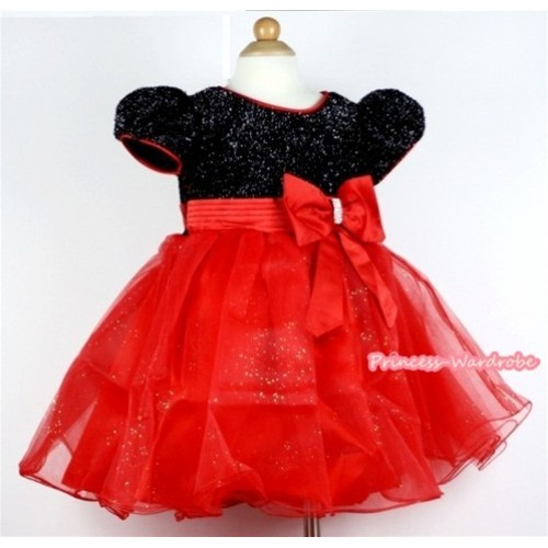 Red Big Bow Waist,Black & Hot Red Wedding Party Dress PD031