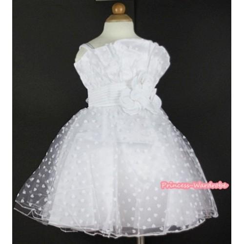 White Rose Waist,Pure White Heart Chiffon Wedding Party Dress PD029