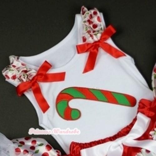 Christmas Stick Print White Tank Top with White Cherry Ruffles Red Bows TB186