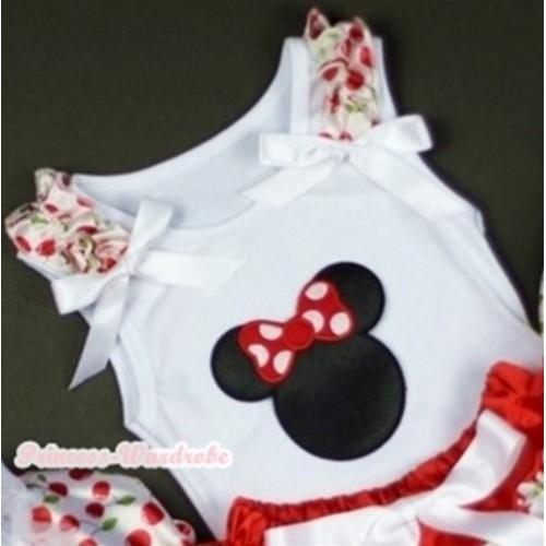 Minnie Print White Tank Top with White Cherry Ruffles White Bows TB189