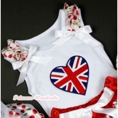 Patriotic Britain Heart Print White Tank Top with White Cherry Ruffles White Bows TB202