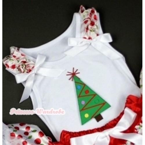 Christmas Tree Print White Tank Top with White Cherry Ruffles White Bows TB204