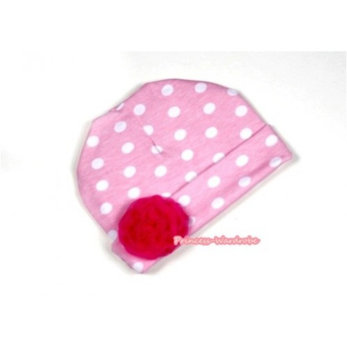 Light Pink White Polka Dots Cotton Cap with Red Rose TH278