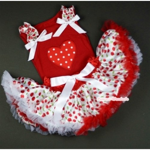 Red Baby Pettitop In Red White Polka Dots Heart Print with White Cherry Ruffles White Bow with White Cherry Baby Pettiskirt NG1040