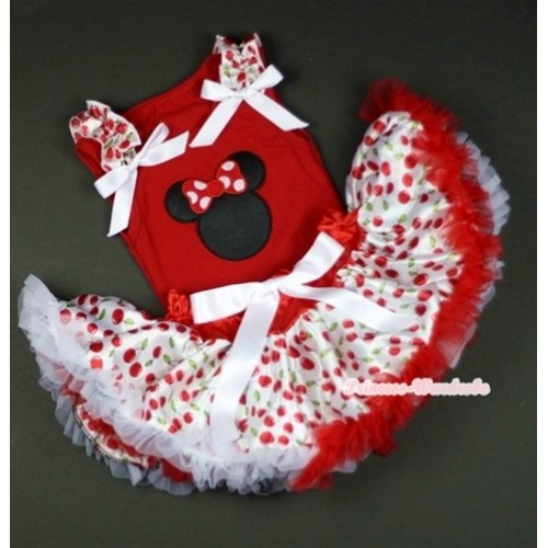 Red Baby Pettitop In Minnie Print with White Cherry Ruffles White Bow with White Cherry Baby Pettiskirt NG1042