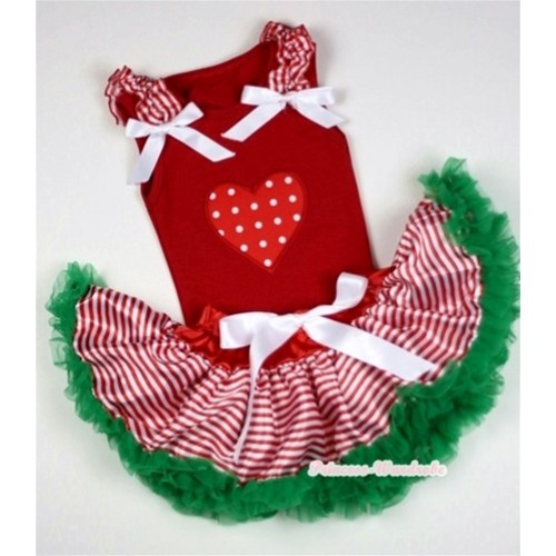 Red Baby Pettitop In Red White Polka Dots Heart Print with Red White Striped Ruffles White Bow with Red White Striped mix Christmas Green Baby Pettiskirt NG1055
