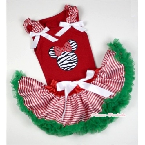 Red Baby Pettitop In Zebra Minnie Print with Red White Striped Ruffles White Bow with Red White Striped mix Christmas Green Baby Pettiskirt NG1056