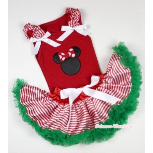 Red Baby Pettitop In Minnie Print with Red White Striped Ruffles White Bow with Red White Striped mix Christmas Green Baby Pettiskirt NG1057