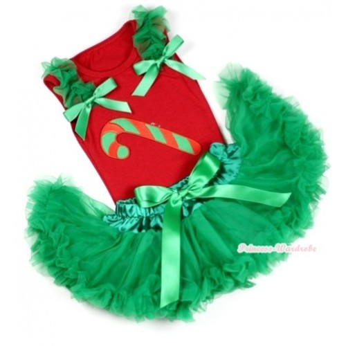 Red Baby Pettitop In Christmas Stick Print with Kelly Green Ruffles Kelly Green Bow with Kelly Green Baby Pettiskirt NG1077