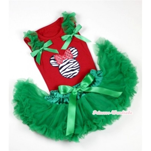 Red Baby Pettitop In Zebra Minnie Print with Kelly Green Ruffles Kelly Green Bow with Kelly Green Baby Pettiskirt NG1082