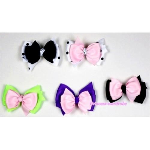 LOT 5 Silk Hair Bow Clip H495
