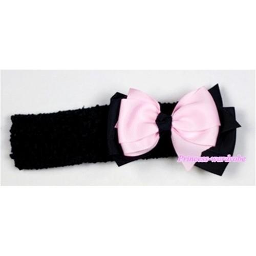 Black Headband with Light Pink &Black Ribbon Hair Bow Clip H502