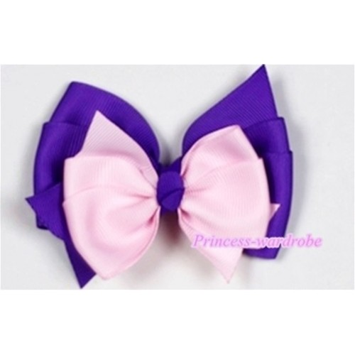 Light Pink Dark Purple Ribbon Bow Hair Clip H498