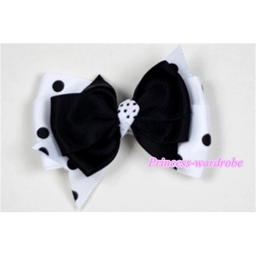 Black & White Black Polka Dots Ribbon Bow Hair Clip H499