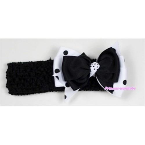 Black Headband with Black &White Black Polka Dots Ribbon Hair Bow Clip H510