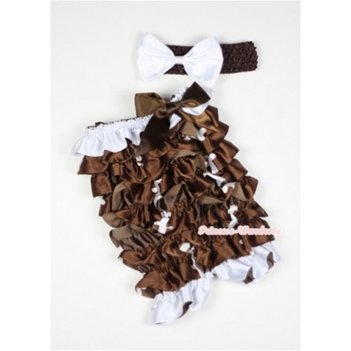 Rugby Petti Romper with Brown Bow and Brown Headband White Bow Set RH86