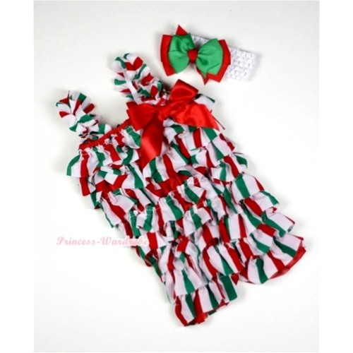 Christmas Stick Petti Romper with Red Bow & Straps with White Headband Red Green Bow Set RH89