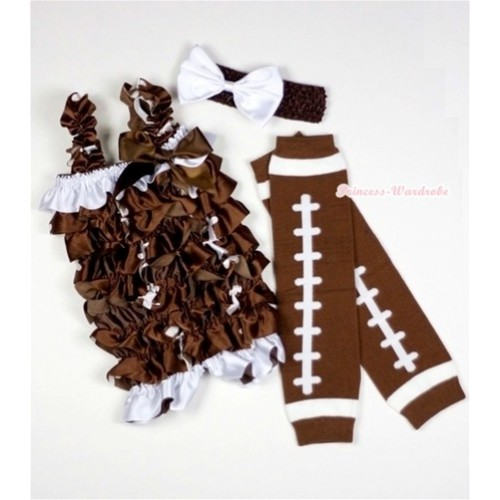 Rugby Romper With Brown Bow & Straps With Rugby Leg Warmer with Headband Set RH90