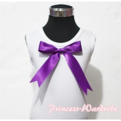 White Pettitop with Cute Purple Big Bow TM117
