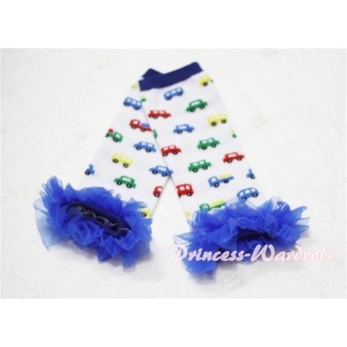 Newborn Baby Colorful Vehicle Leg Warmers Leggings with Royal Blue Ruffles LG34