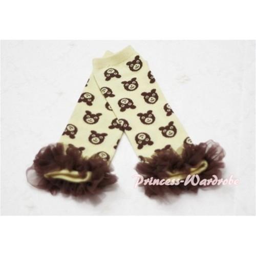 Newborn Baby Brown Bear Yellow Leg Warmers Leggings with Brown Ruffles LG37