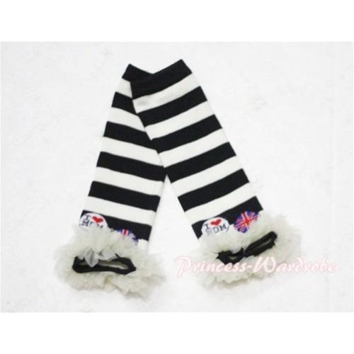 Newborn Baby Black & White Stripes Leg Warmers Leggings with Cream White Ruffles LG43