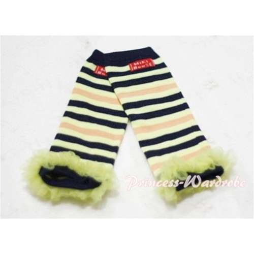 Newborn Baby Black & Yellow Stripes Leg Warmers Leggings with Yellow Ruffles LG44