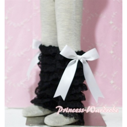Baby Black Lace Leg Warmers Leggings with White Ribbon LG69