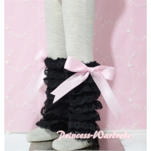 Baby Black Lace Leg Warmers Leggings with Pink Ribbon LG72