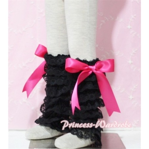 Baby Black Lace Leg Warmers Leggings with Hot Pink Ribbon LG74