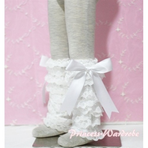 Baby Cream White Lace Leg Warmers Leggings with White Ribbon LG76