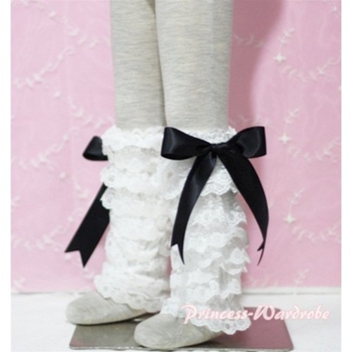 Baby Cream White Lace Leg Warmers Leggings with Black Ribbon LG78
