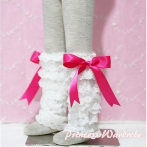Baby Cream White Lace Leg Warmers Leggings with Hot Pink Ribbon LG79