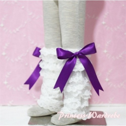 Baby Cream White Lace Leg Warmers Leggings with Purple Ribbon LG81