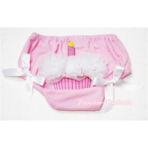 Light Pink Bloomer & White Cupcake & White Bow BC52