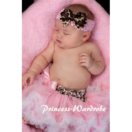 Light Pink Leopard Waist Light Pink White New Born Pettiskirt  N59