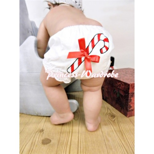 White Bloomers & Christmas Stick Print & Red Bow BC75