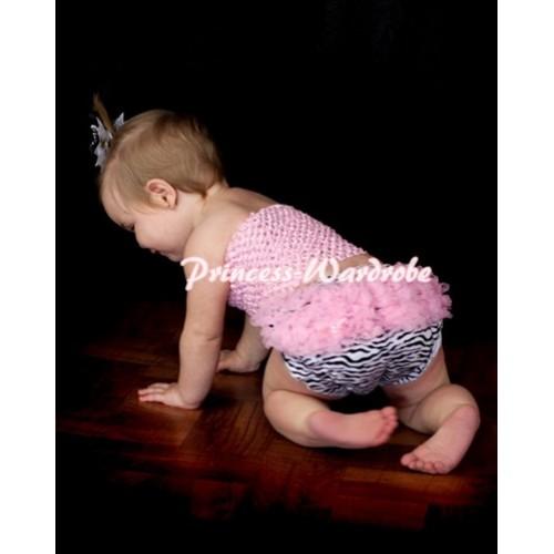 Pink Crochet Tube Top, Pink Zebra Bloomer CT58