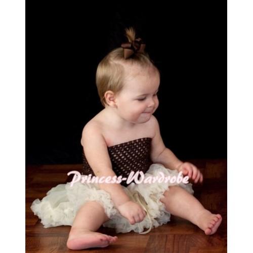Brown Crochet Tube Top with Cream White Baby Pettiskirt CT60