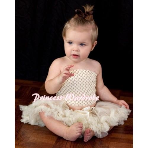Cream White Crochet Tube Top with Cream White Baby Pettiskirt CT61