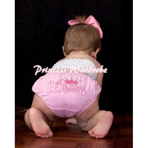 White Crochet Tube Top, Pink Bloomer with Princess Logo CT63
